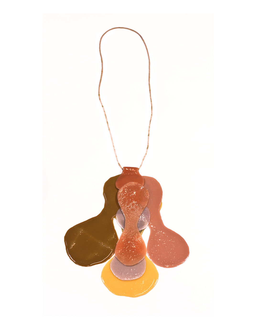 Ela Bauer, necklace, 2012, resin, pigment, jade, cotton, €860